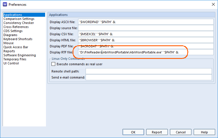 setting the application preferences in Cradle