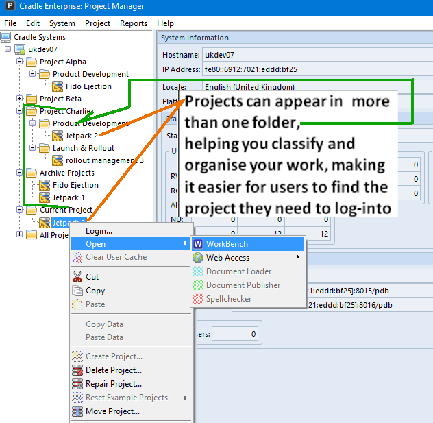Project Manager showing projects in folder organisation.