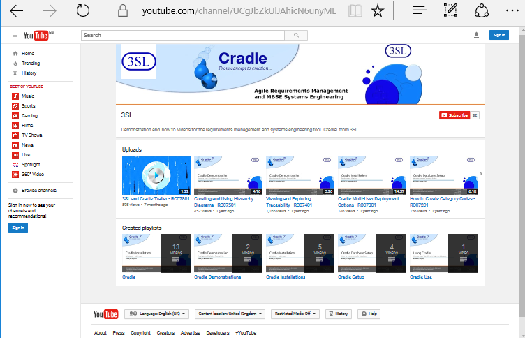 Screenshot of 3SL YouTube channel