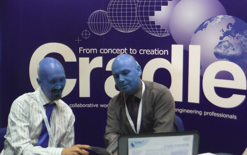 Photo of staff with corporate blue faces