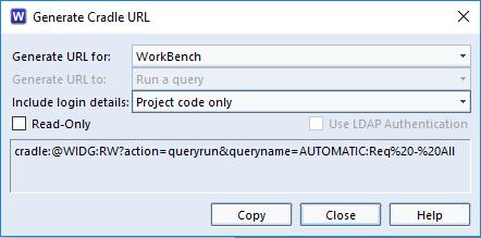 Dialog for Cradle URL creation