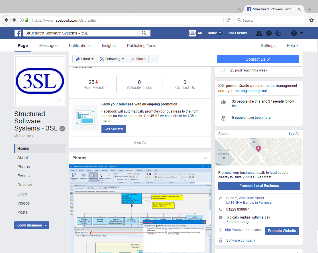 screenshot of www.facebook.com/3slcradle/