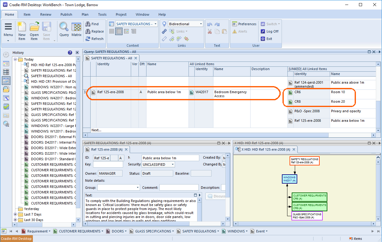 Running a query to find the impact of a change, requirements management for windows and doors is necessary