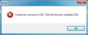 Error message saying Could not connect to CDS