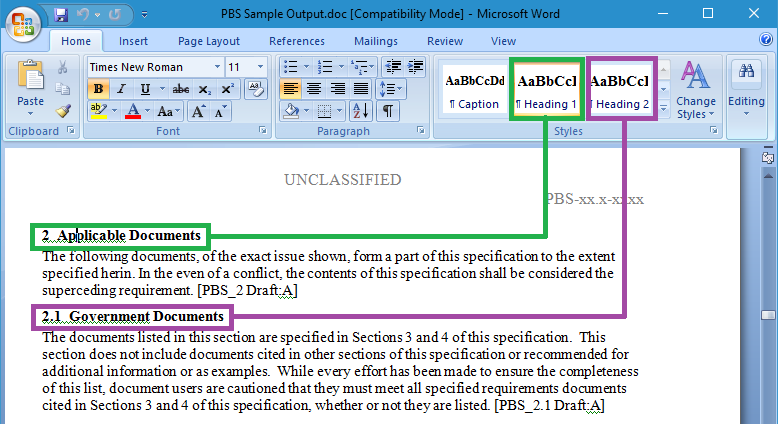 Screenshot showing different heading styles in document indicating different levels in the hierarchy