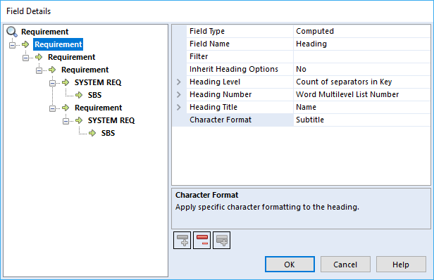 Field Details Character Format Option