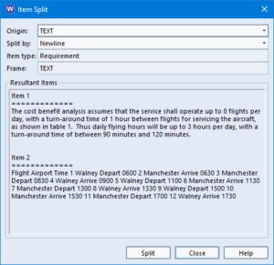 Screenshot showing the item split dialog