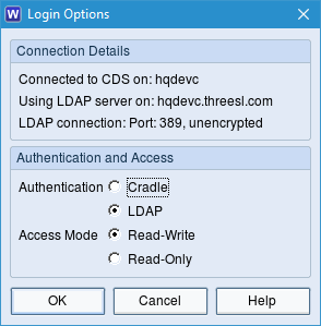 Screenshot of login dialog using LDAP
