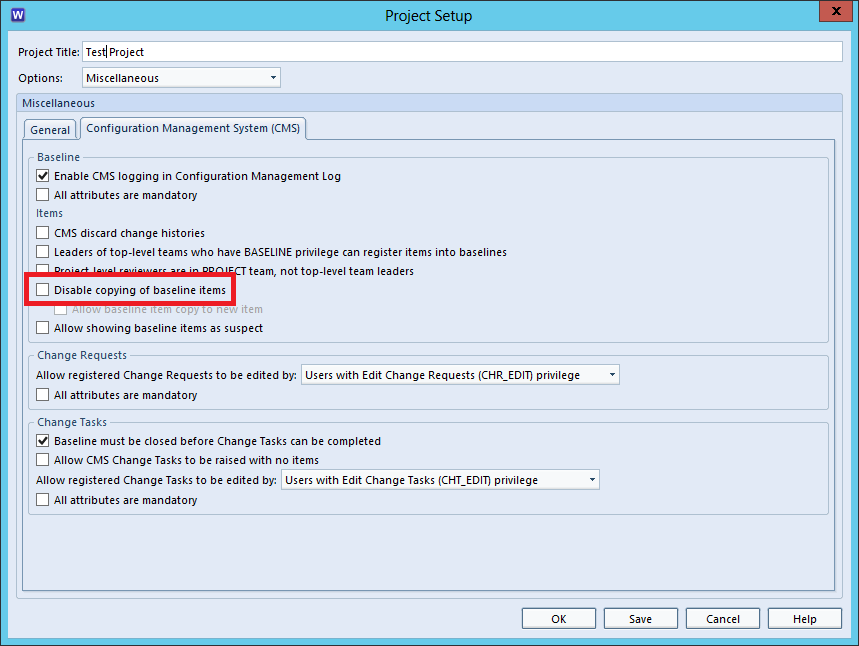 Image of Project Setup with Disable Copying of Baselined Items Option Highlighted