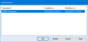 screenshot showing the load sessions dialog