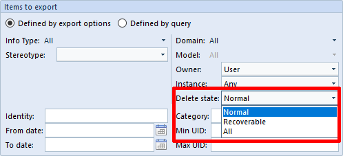 Delete state in the Exporting UI