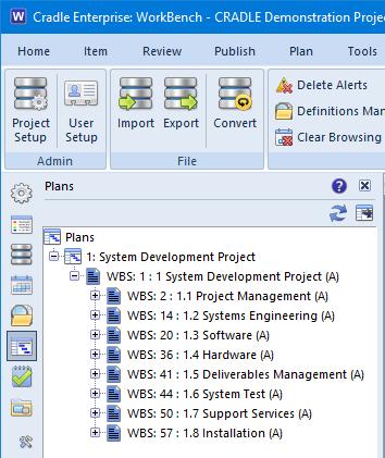 Screenshot showing the plan sidebar