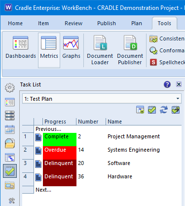 Screenshot showing task sidebar