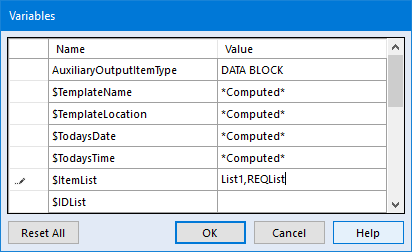 User Variables Dialog Showing Item List Variable