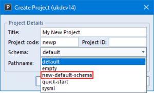 Create Project dialog showing available schemas