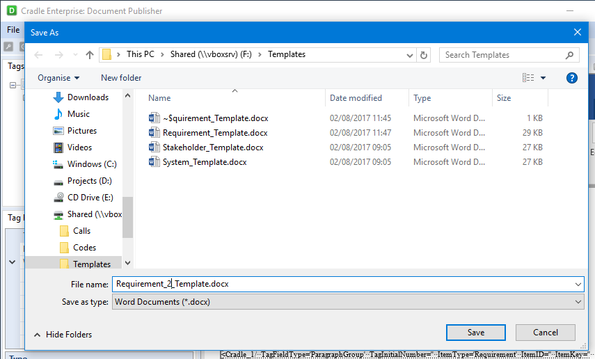 Saving templates through Explorer