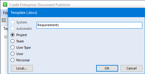Template Dialog using the Project Location