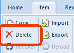 Delete button on the item menu