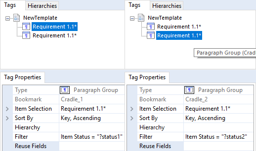 Named Parameters for 2 different Paragraph Group Tags