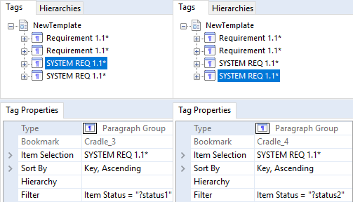 Using Named parametrics for both Requirements and System Requirements