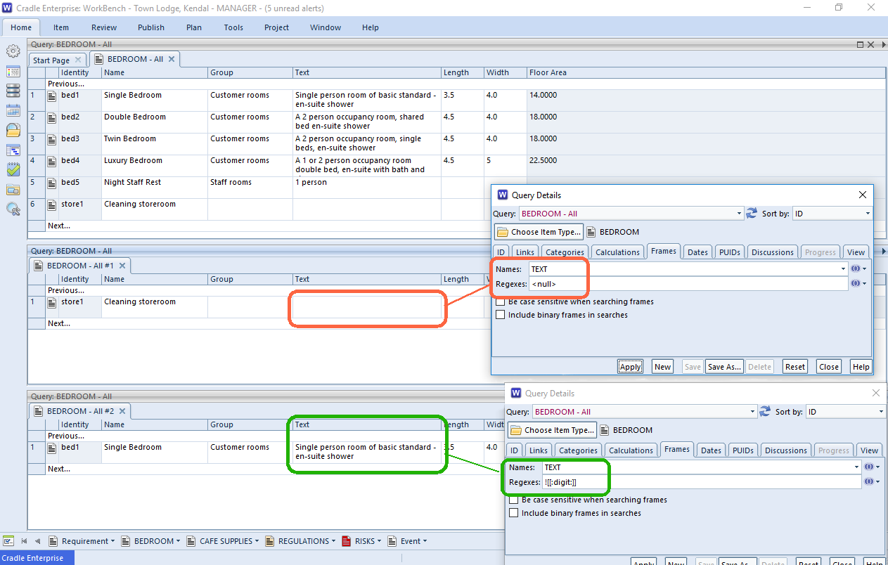 screenshots of results using regexes in frames in Cradle