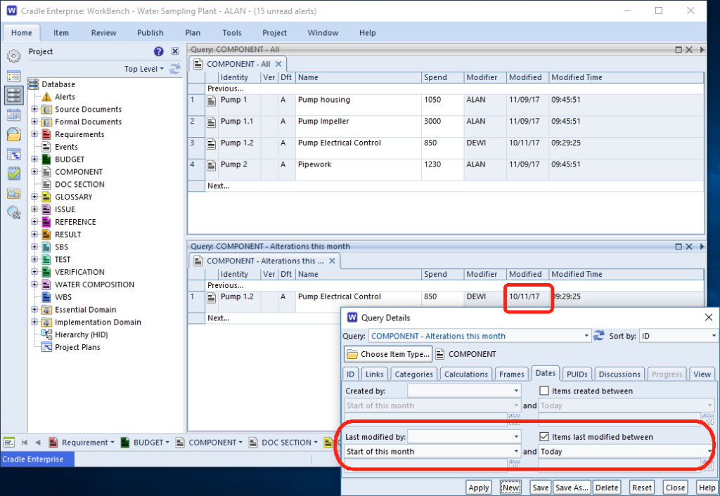 screenshot showing how to set relative date in a query