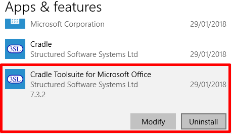 Uninstall Toolsuite not Cradle