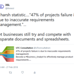 study shows 47% or projects can fail because of inaccurate requirements management
