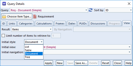 choose document style in a query in 3SL Cradle RM SE Tool
