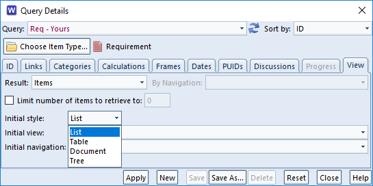 choose list style in a query in 3SL Cradle RM SE Tool