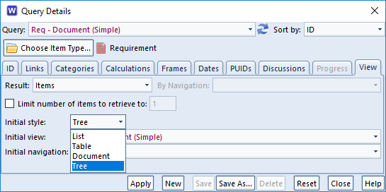 choose tree style in a query in 3SL Cradle RM SE Tool