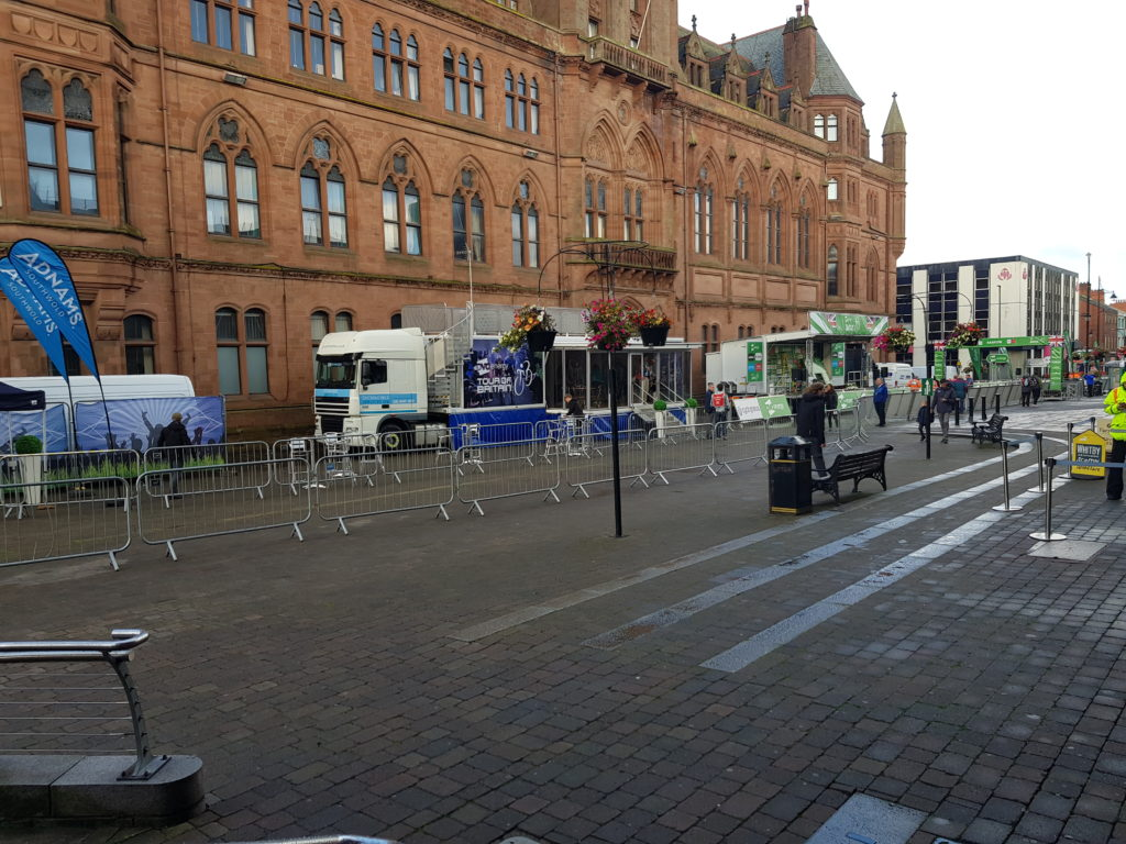 setting up Tour of Britain Start at Barrow-in-Furness