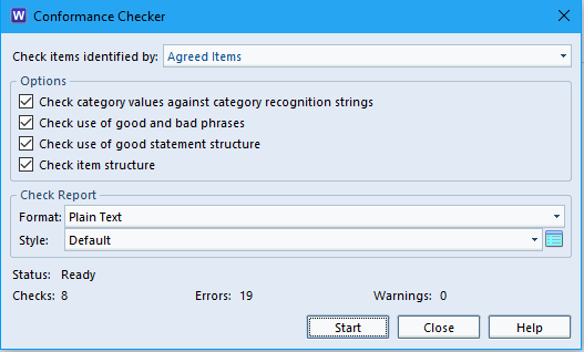 Image of the conformance checker window