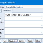 showing the setting up of matrix variables in a navigation