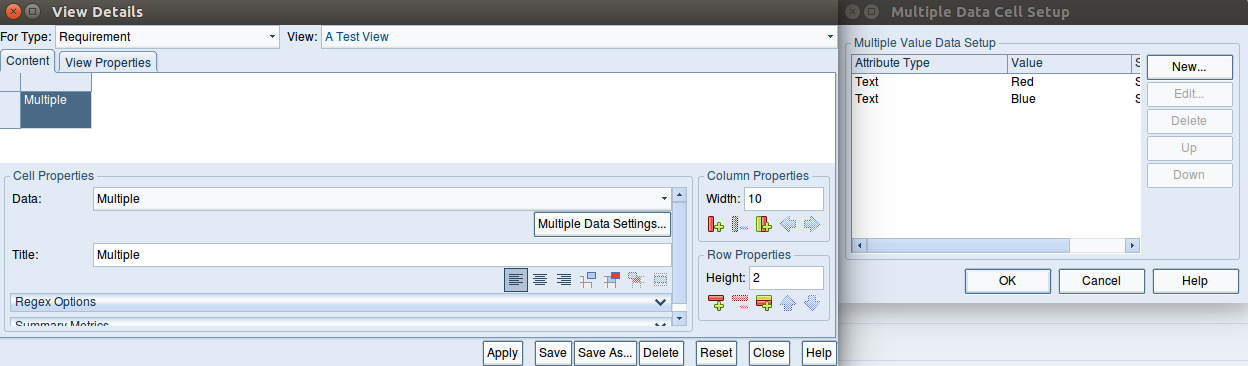 Scrrenshot of the View details dialog and Multiple Data Cell Setup