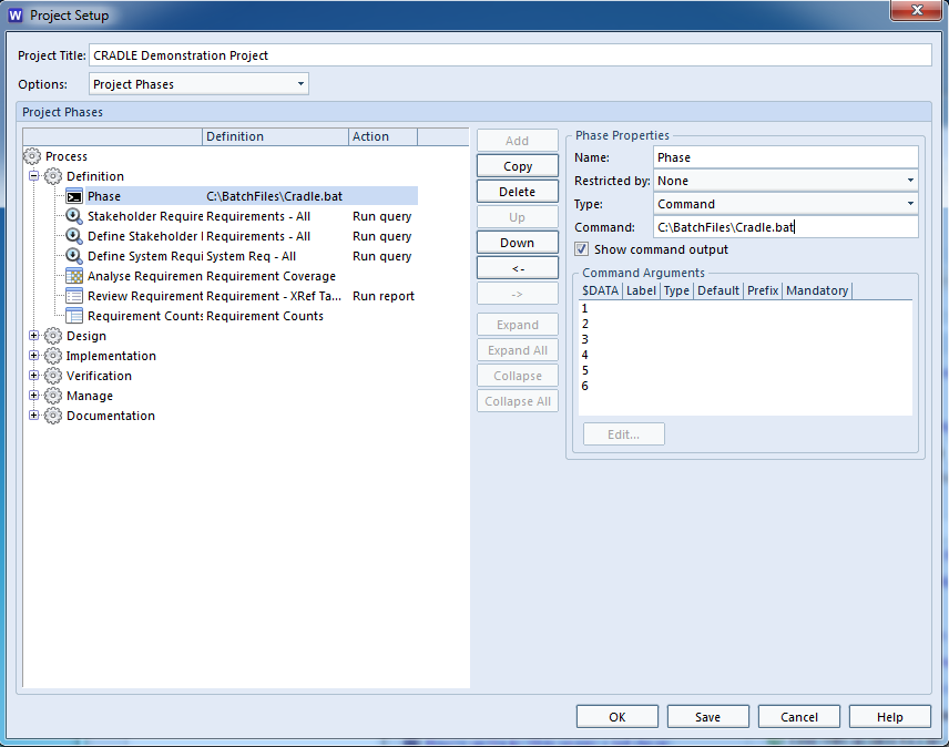 A screenshot showing how to setup a phase node to run a batch file