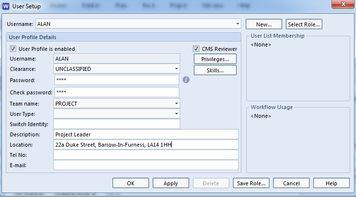 Screenshot showing User Setup dialog