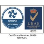 3SL ISOQAR Certificate Number 16926 ISO 9001