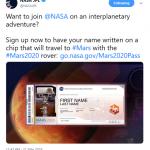 JPL Name on Mars Tweet