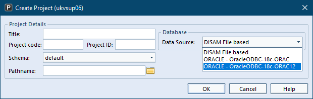 Showing 2 different Oracle databases in Create Project UI