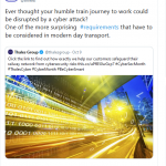 @ThalesGroup tweet regarding cyber attack prevention on transportation systems