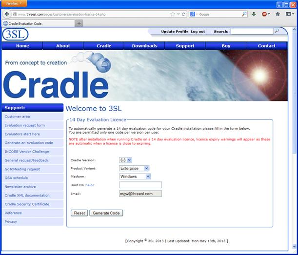 Get a 14 day evaluation licence for Cradle